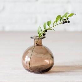 Smokey Grey Recycled Glass Bud Vase