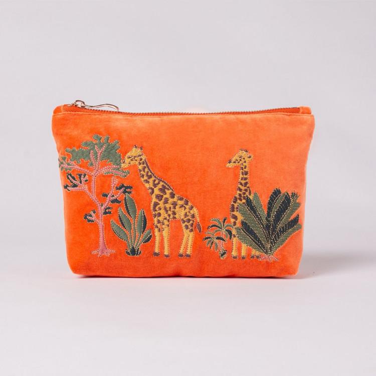 Giraffe Orange Velvet Makeup Bag