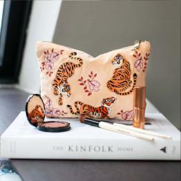 Tiger Apricot Velvet Makeup Bag