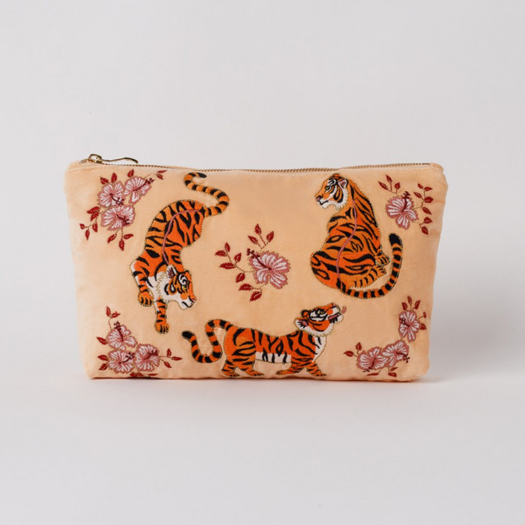 Tiger Apricot Velvet Pouch