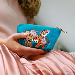 Tiger Azure Velvet Purse