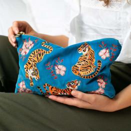Tiger Azure Velvet Pouch