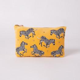 Zebra Mustard Velvet Pouch