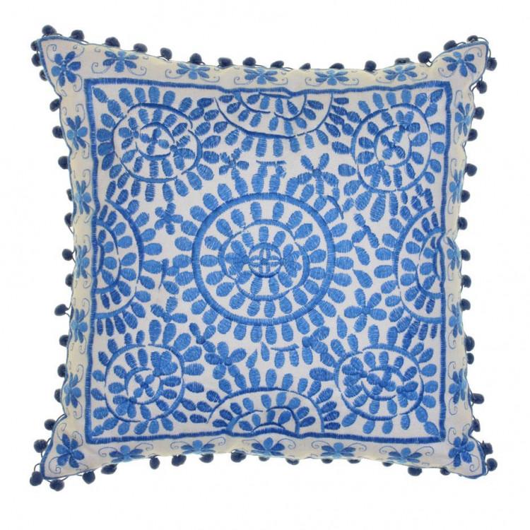 Souk Embroidered Square Cushion Cobalt Blue