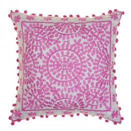 Souk Embroidered Square Cushion Hot Pink