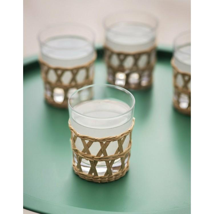 Set of 4 Rattan Glass Tumblers