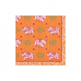 Orange Batik Elephants Paper Napkins