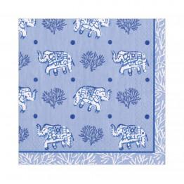 Blue Batik Elephants Paper Napkins