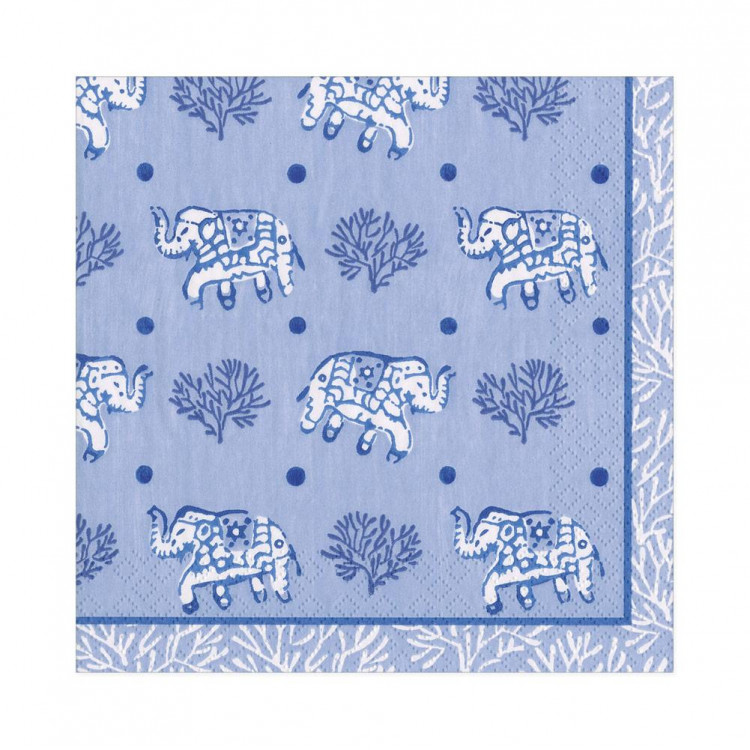 Blue Batik Elephants Paper Napkins