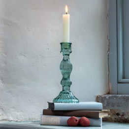 Bella Green Glass Candlestick