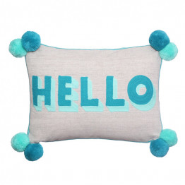 HELLO Turquoise Teal Cushion Bombay Duck