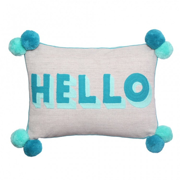 HELLO Turquoise Teal Cushion