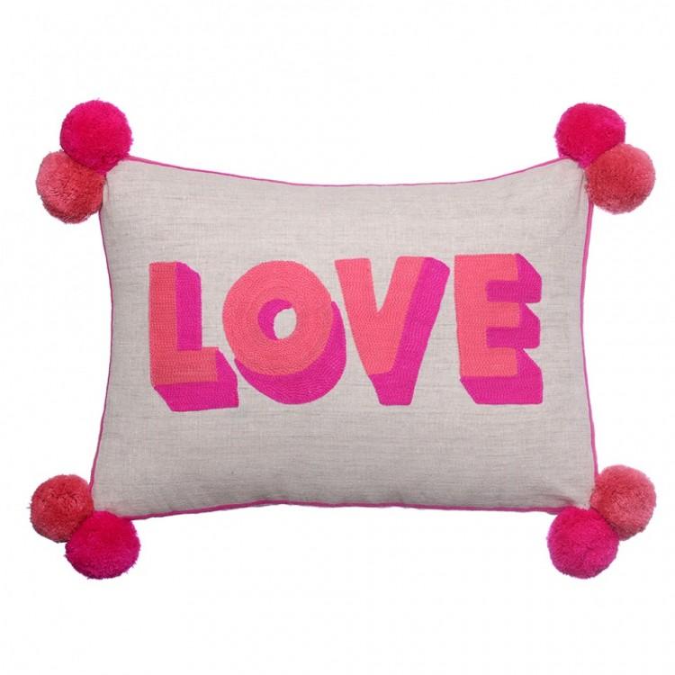LOVE Pink Coral Cushion