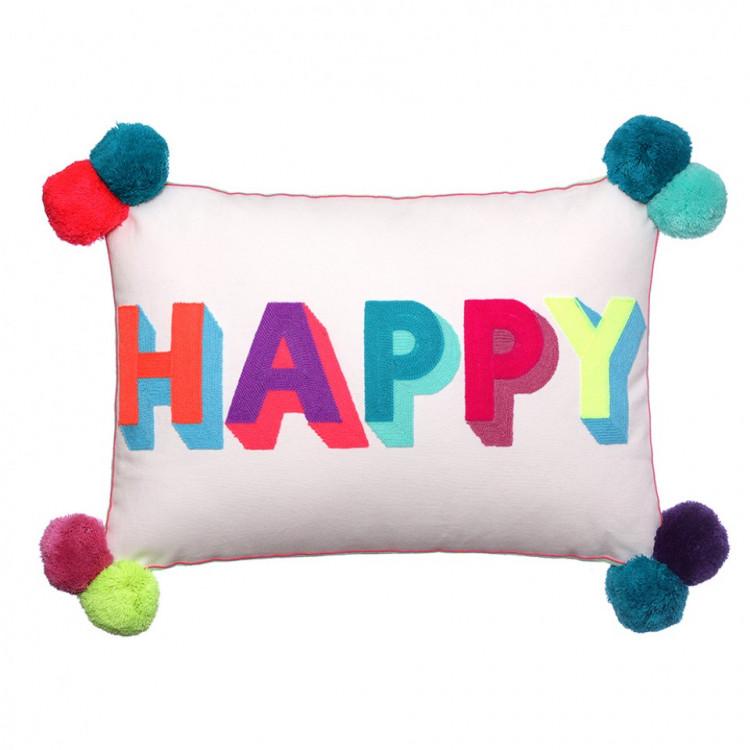 HAPPY Multicoloured Cushion