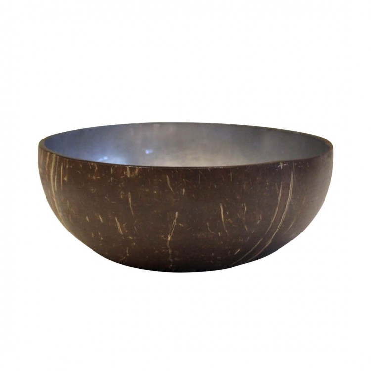 Blue Grey Lacquered Coconut Bowl