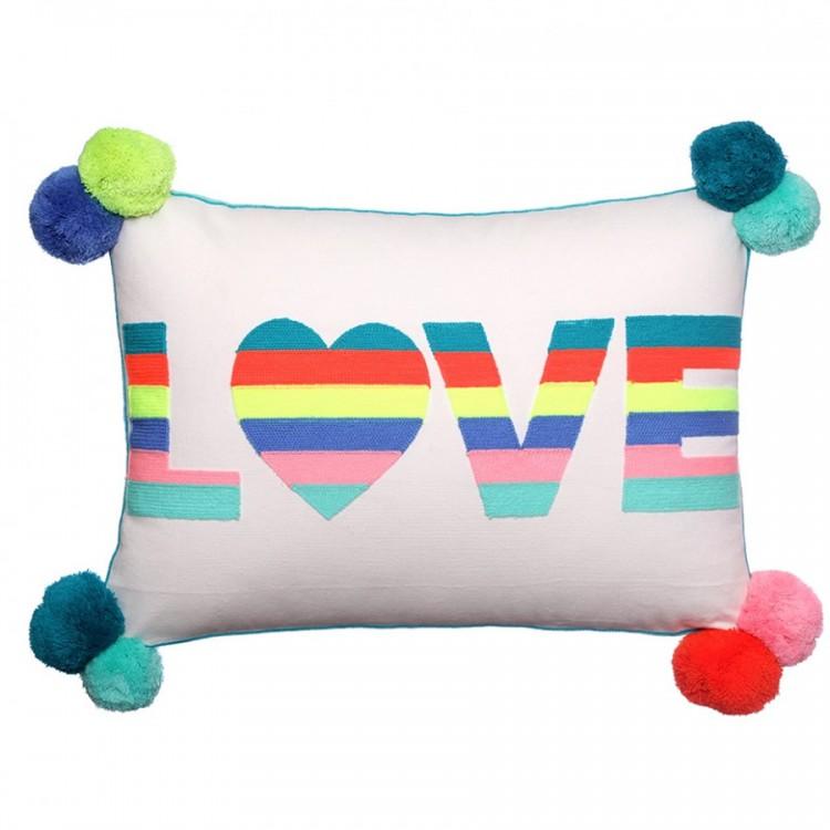 LOVE Stripes Embroidered Cushion Multicoloured
